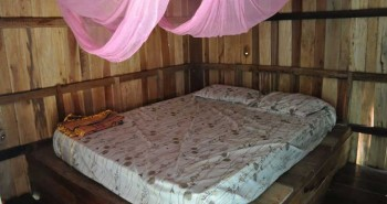 Simple hotel accommodation in wooden bungalow