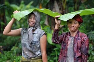 Two smiling women from Nias Island Indonesia using big banana leaves as an umbrella to cover from the rain