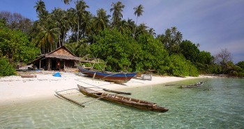 A fisherman's beach hut on the south side of Wunga Island Lagoon off the west coast of Nias Island, Indonesia