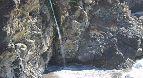 McWay Falls Beach with the waterfall landing directly on the beach