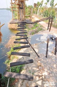 Wooden rope bridge, Kampot Zipline River Park