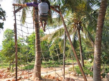 Zipline finish in rope net in Kampot, Cambodia
