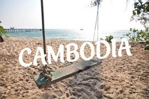 Cambodia beach with a quirky wooden swing