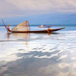 Fishing canoe Myanmar scenary