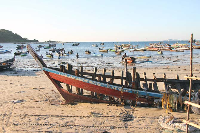 Myanmar beach with fisherman's boats