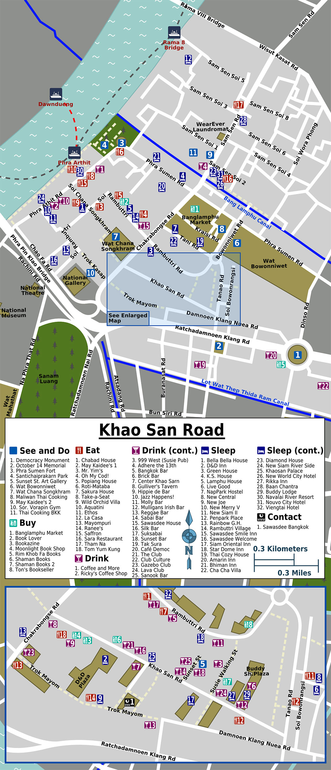 Khaosan Road tourist map, Bangkok
