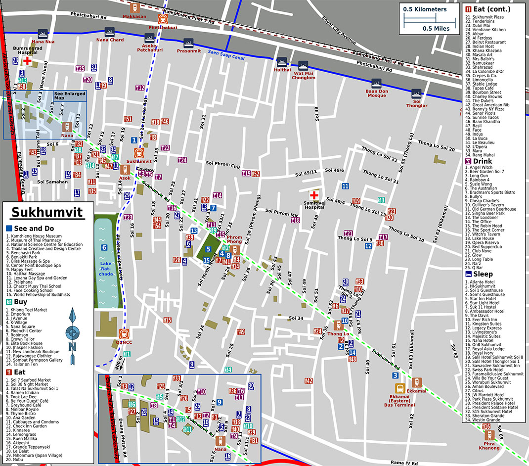 Sukhumvit tourist map, Bangkok