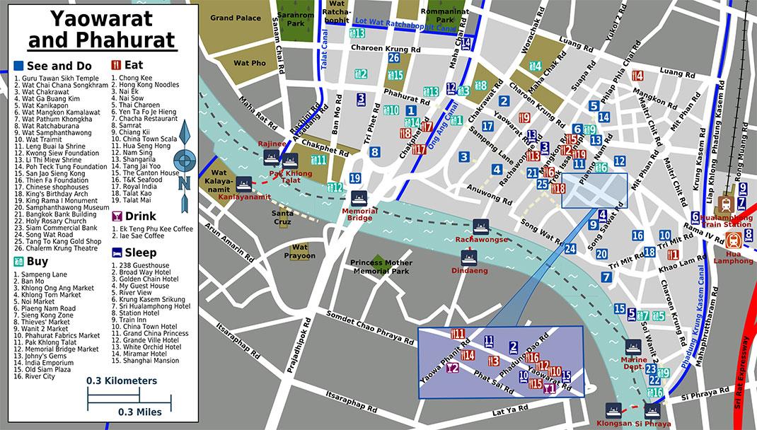 Yaowarat Chinatown tourist map, Bangkok